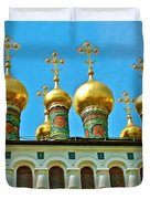 Onion Domes On Churches Of The Nativity And Deposition Of The Robe Inside Kreml Duvet Cover