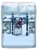 Open Gate In Snow With Wreath Duvet Cover