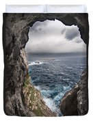A Natural Window In Minorca North Coast Discover Us An Impressive View Of Sea And Sky - Open Window Duvet Cover