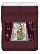 Open Window View Onto Wild Flower Garden Duvet Cover