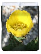 Opuntia Ficus-indica Flower Of The Prickly Pear Duvet Cover