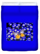 Orange And Gray Butterfly Duvet Cover