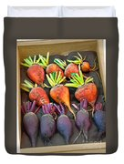 Orange And Purple Beet Vegetables In Wood Box Art Prints Duvet Cover
