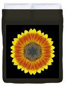 Orange And Yellow Sunflower Flower Mandala Duvet Cover