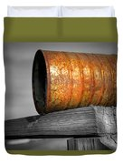 Orange Appeal - Rusty Old Can Duvet Cover by Gary Heller