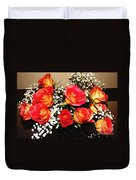 Orange Apricot Roses With Oil Painting Effect Duvet Cover