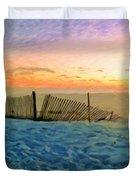 Orange Beach Sunset - The Waning Of The Day Duvet Cover
