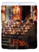 Orange Bicycle By Brownstone Duvet Cover