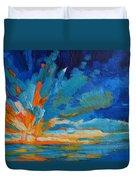 Orange Blue Sunset Landscape Duvet Cover by Patricia Awapara