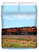 Orange Bnsf Engines Duvet Cover