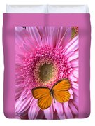 Orange Butterfly On Pink Daisy Duvet Cover