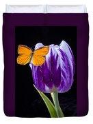 Orange Butterfly On Purple Tulip Duvet Cover