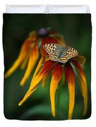 Orange Butterfly With Black Dots Sitting Onthe Red And Yellow Long Petaled Flowers Duvet Cover