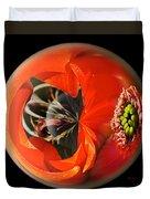 Orange Cactus Flower In A Globe Duvet Cover