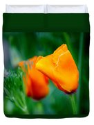 Orange California Poppies Duvet Cover