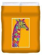 Orange Carosel Giraffe Duvet Cover