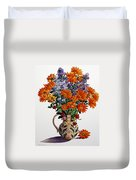 Orange Chrysanthemums Duvet Cover