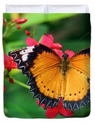 Orange Common Lacewing Butterfly Duvet Cover