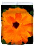 Orange Country Flowers - Impressionist Series Duvet Cover