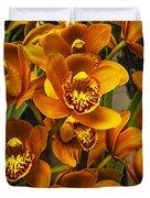 Orange Cymbidium Duvet Cover