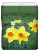 Orange Daffodils Flowers Spring Garden Duvet Cover