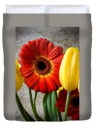 Orange Daisy With Tulips Duvet Cover