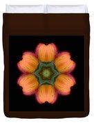 Orange Daylily Flower Mandala Duvet Cover by David J Bookbinder