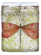Orange Dragonfly On Vintage Tin Duvet Cover
