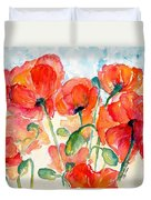 Orange Field Of Poppies Watercolor Duvet Cover