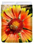 Orange Fiery Gaillardia Flower And Bee Macro Duvet Cover