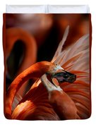 Orange Flamingos Conflict Resolution Duvet Cover