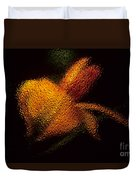 Orange Floral In Abstract Duvet Cover