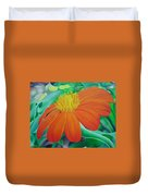 Orange Flower Duvet Cover
