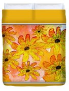 Orange Flowers Galore Digital Art Duvet Cover