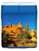 Orange Foreground A Blue Blue Sky  Duvet Cover