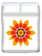 Orange Gazania I Flower Mandala White Duvet Cover