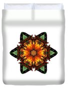 Orange Gazania IIi Flower Mandala White Duvet Cover
