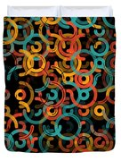 Orange Geometric Circle Segment Pattern Duvet Cover