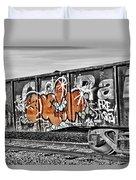 Orange Graffiti Duvet Cover