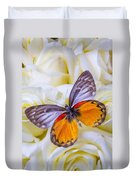 Orange Gray Butterfly Duvet Cover