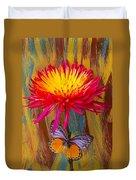 Orange Gray Butterfly On Mum Duvet Cover