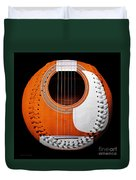 Orange Guitar Baseball White Laces Square Duvet Cover