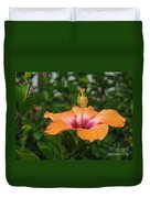 Orange Hibiscus Blossom Duvet Cover