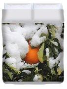 Orange In Snow Duvet Cover