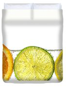 Orange Lemon And Lime Slices In Water Duvet Cover by Elena Elisseeva