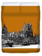 Dark Ink With Bright Orange London Skies Duvet Cover