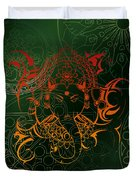 orange Lord Ganesha on green Mandala Duvet Cover