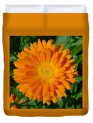Orange Marigold Close Up With Garden Background Duvet Cover
