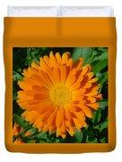 Orange Marigold Close Up With Garden Background Duvet Cover