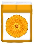 Orange Nasturtium I Flower Mandala White Duvet Cover